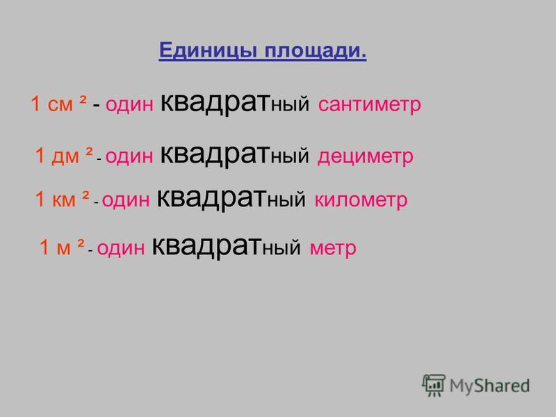 Единицы площади. 1 см ² - один квадратный сантиметр 1 дм ² - один квадратный дециметр 1 км ² - один квадратный километр 1 м ² - один квадратный метр