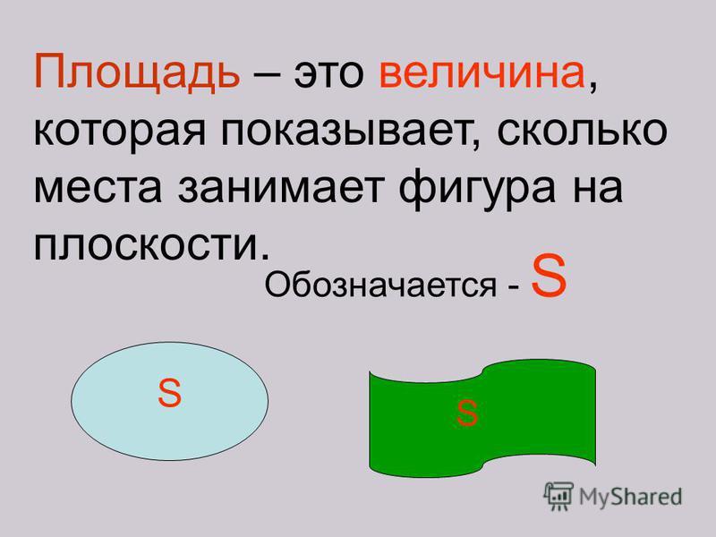 Площадь – это величина, которая показывает, сколько места занимает фигура на плоскости. Обозначается - S S S