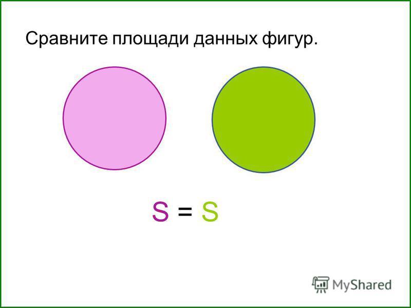 Сравните площади данных фигур. S = S