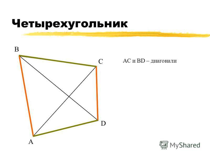 Четырехугольник А В С D АС и ВD – диагонали АB и CD, BC и AD – противоположные стороны