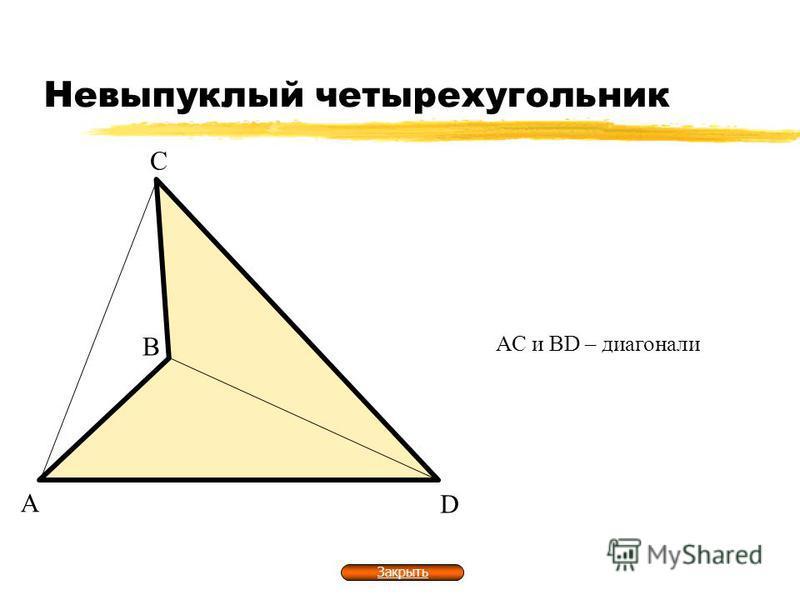 Невыпуклый четырехугольник А В С D АС и ВD – диагонали Закрыть