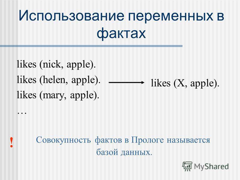 Использование переменных в фактах likes (nick, apple). likes (helen, apple). likes (mary, apple). … likes (Х, apple). ! Совокупность фактов в Прологе называется базой данных.