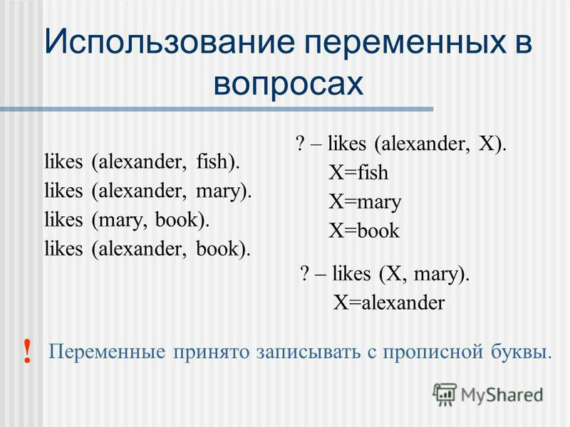 Использование переменных в вопросах likes (alexander, fish). likes (alexander, mary). likes (mary, book). likes (alexander, book). ? – likes (alexander, X). X=fish X=mary X=book ! Переменные принято записывать с прописной буквы. ? – likes (X, mary).