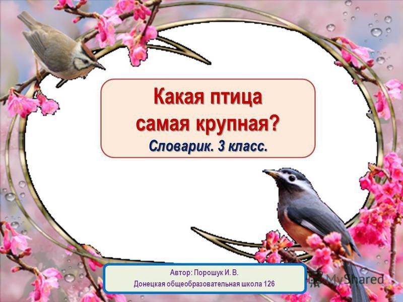 Какая птица самая крупная? Словарик. 3 класс. Автор: Порошук И. В. Донецкая общеобразовательная школа 126