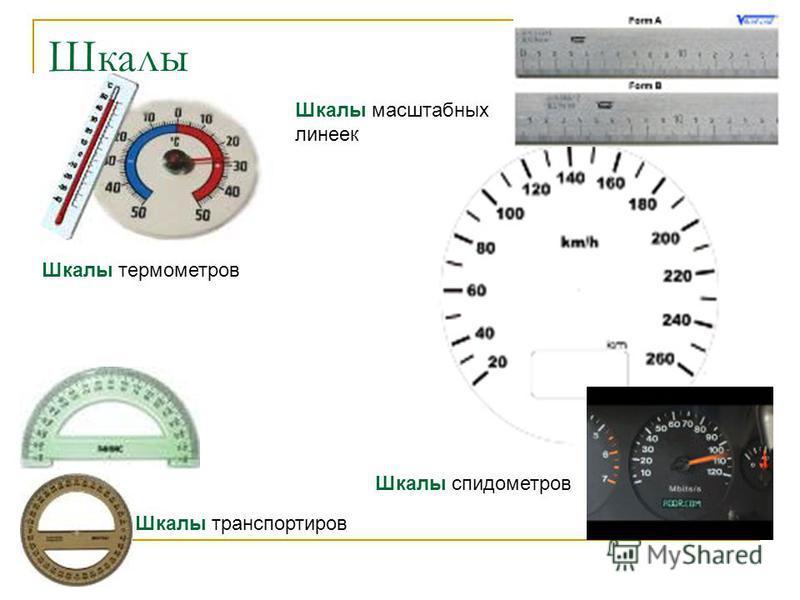 Шкалы Шкалы спидометров Шкалы транспортиров Шкалы термометров Шкалы масштабных линеек