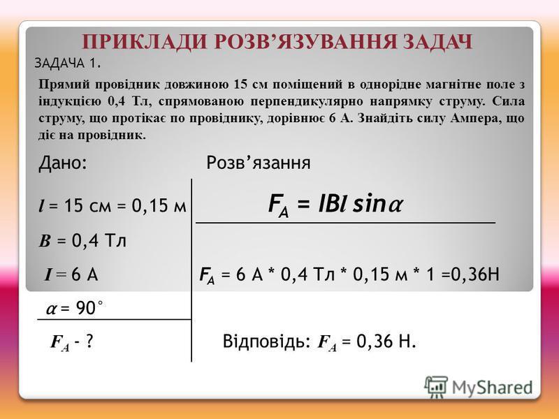 Дано:Розвязання l = 15 см = 0,15 м F A = IB l sin B = 0,4 Тл I = 6 А F A = 6 А * 0,4 Тл * 0,15 м * 1 =0,36Н = 90° F А - ? Відповідь: F А = 0,36 Н. Прямий провідник довжиною 15 см поміщений в однорідне магнітне поле з індукцією 0,4 Тл, спрямованою пер