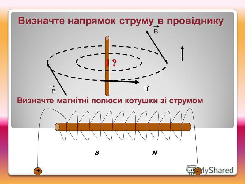 Визначте напрямок струму в провіднику В В В I ? Визначте магнітні полюси котушки зі струмом +- S N