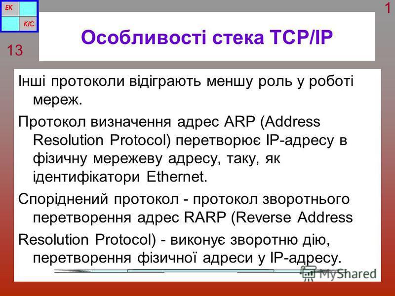 Особливості стека TCP/IP Інші протоколи відіграють меншу роль у роботі мереж. Протокол визначення адрес ARP (Address Resolution Protocol) перетворює IP-адресу в фізичну мережеву адресу, таку, як ідентифікатори Ethernet. Споріднений протокол - протоко