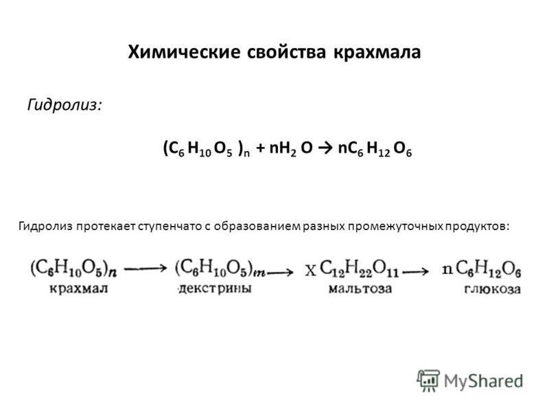 Химические свойства крахмала Гидролиз: (C 6 H 10 O 5 ) n + nH 2 O nC 6 H 12 O 6 Гидролиз протекает ступенчато с образованием разных промежуточных продуктов: