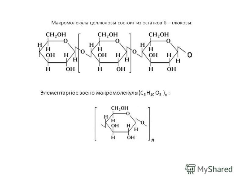 Макромолекула целлюлозы состоит из остатков ß – глюкозы: Элементарное звено макромолекулы(C 6 H 10 O 5 ) n :