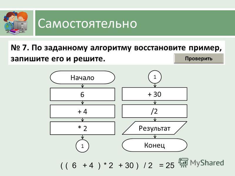 Самостоятельно Начало 6 + 4 * 2 + 30 /2 Результат Конец 7. По заданному алгоритму восстановите пример, запишите его и решите. 1 1 (6+ 4)* 2+ 30)/ 2= 25(