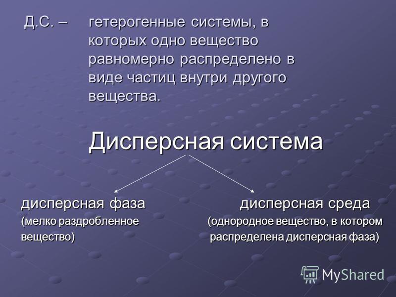Дисперсная система дисперсная фаза дисперсная среда (мелко раздробленное (однородное вещество, в котором вещество) распределена дисперсная фаза) Д.С. – гетерогенные системы, в которых одно вещество равномерно распределено в виде частиц внутри другого