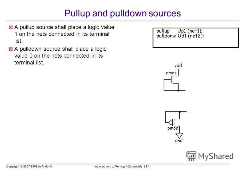 Copyright © 2007-2009 by Ando KiIntroduction to Verilog-HDL module ( 11 ) Pullup and pulldown sources A pullup source shall place a logic value 1 on the nets connected in its terminal list. A pulldown source shall place a logic value 0 on the nets co