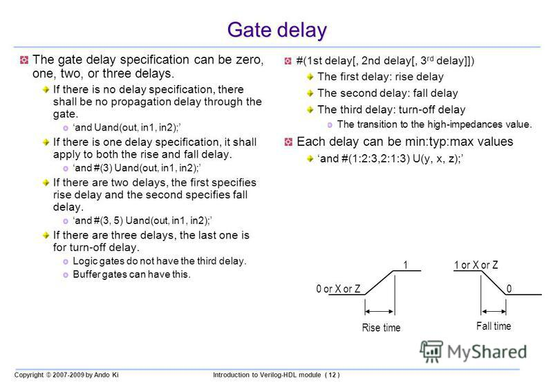 Copyright © 2007-2009 by Ando KiIntroduction to Verilog-HDL module ( 12 ) Gate delay The gate delay specification can be zero, one, two, or three delays. If there is no delay specification, there shall be no propagation delay through the gate. and Ua