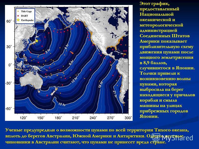 Этот график, предоставленный Национальной океанической и метеорологической администрацией Соединенных Штатов Америки показывает приблизительную схему движения цунами после мощного землетрясения в 8,9 баллов, случившегося в Японии. Толчки привели к во