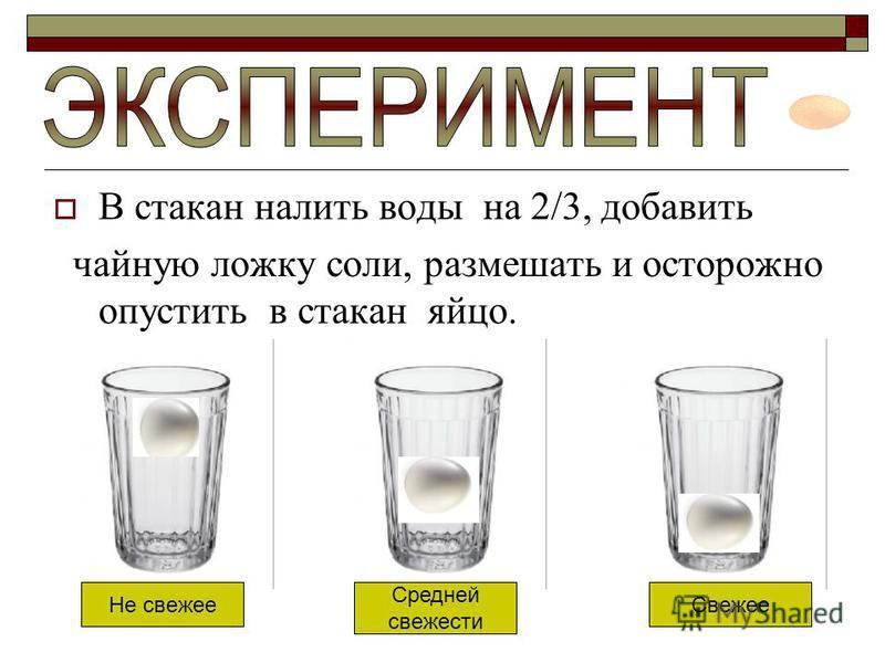 В стакан налить воды на 2/3, добавить чайную ложку соли, размешать и осторожно опустить в стакан яйцо. Свежее Средней свежести Не свежее