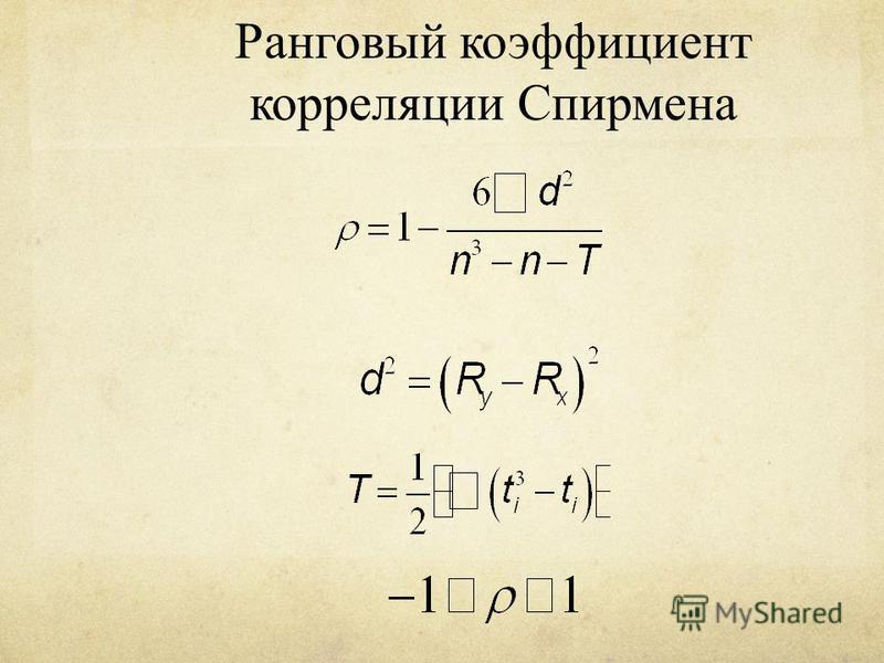 Ранговый коэффициент корреляции Спирмена