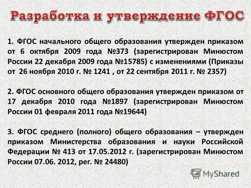 1. ФГОС начального общего образования утвержден приказом от 6 октября 2009 года 373 (зарегистрирован Минюстом России 22 декабря 2009 года 15785) с изменениями (Приказы от 26 ноября 2010 г. 1241, от 22 сентября 2011 г. 2357) 2. ФГОС основного общего о