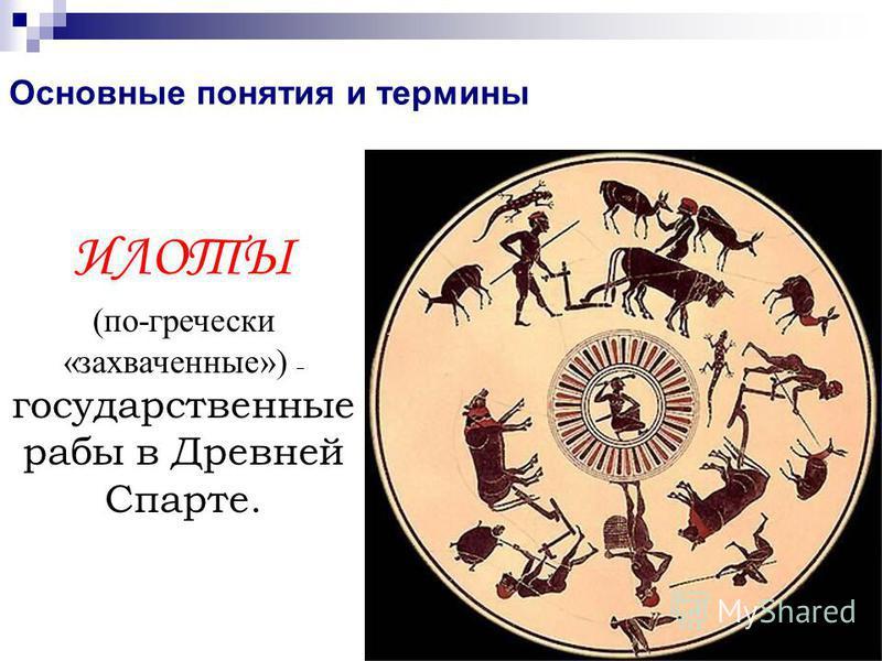 Основные понятия и термины ИЛОТЫ (по-гречески «захваченные») – государственные рабы в Древней Спарте.