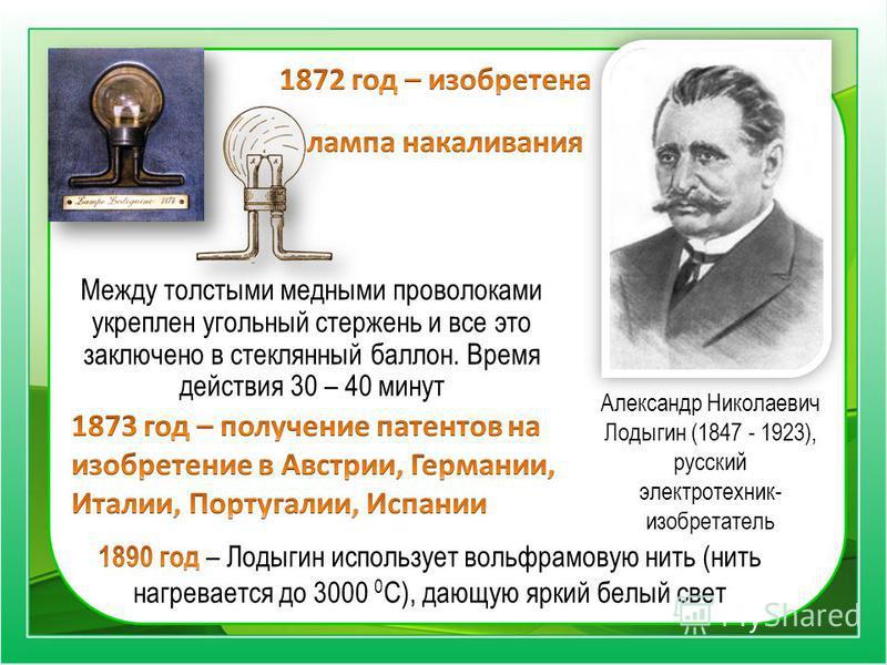 Александр Николаевич Лодыгин (1847 - 1923), русский электротехник- изобретатель Между толстыми медными проволоками укреплен угольный стержень и все это заключено в стеклянный баллон. Время действия 30 – 40 минут