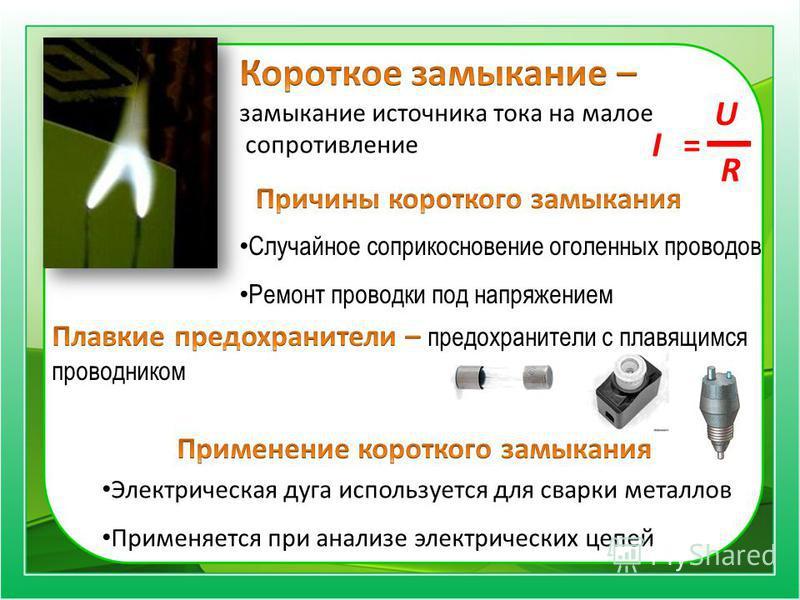 I= U R Случайное соприкосновение оголенных проводов Ремонт проводки под напряжением Электрическая дуга используется для сварки металлов Применяется при анализе электрических цепей