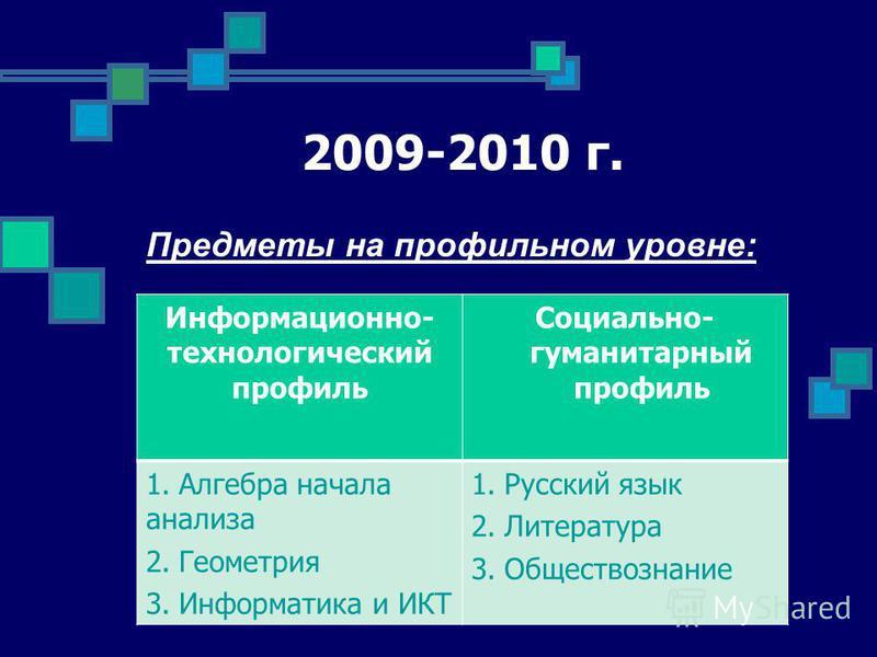 2009-2010 г. Предметы на профильном уровне: Информационно- технологический профиль Социально- гуманитарный профиль 1. Алгебра начала анализа 2. Геометрия 3. Информатика и ИКТ 1. Русский язык 2. Литература 3.Обществознание