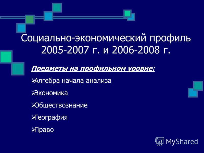 Социально-экономический профиль 2005-2007 г. и 2006-2008 г. Предметы на профильном уровне: Алгебра начала анализа Экономика Обществознание География Право