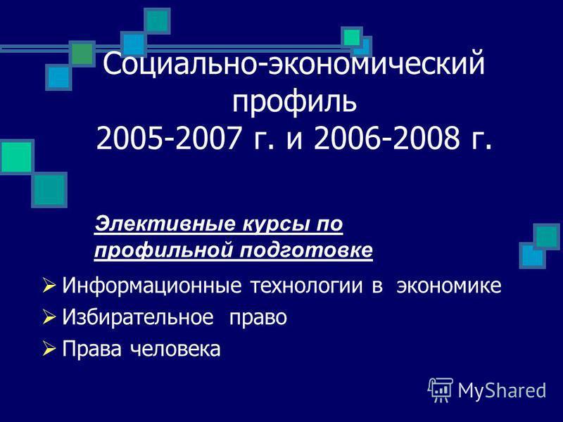 Социально-экономический профиль 2005-2007 г. и 2006-2008 г. Информационные технологии в экономике Избирательное право Права человека Элективные курсы по профильной подготовке