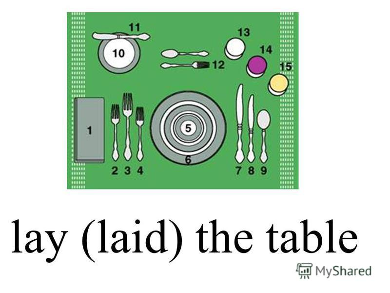 lay (laid) the table