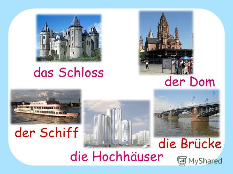 das Schloss der Schiff die Brücke die Hochhäuser der Dom