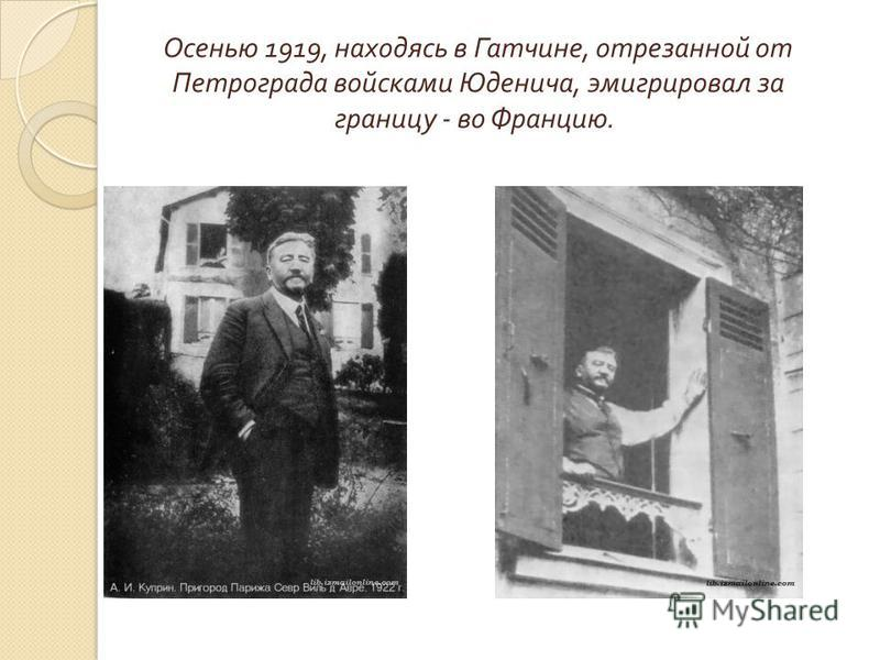 Осенью 1919, находясь в Гатчине, отрезанной от Петрограда войсками Юденича, эмигрировал за границу - во Францию.