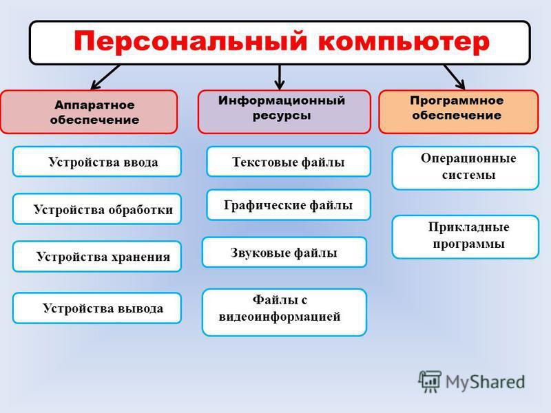 Персональный компьютер Информационный ресурсы Программное обеспечение Аппаратное обеспечение Устройства обработки Устройства хранения Устройства вывода Текстовые файлы Графические файлы Звуковые файлы Файлы с видеоинформацией Операционные системы При
