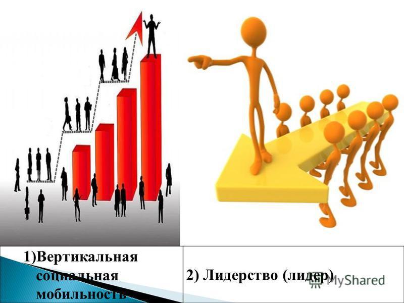 1)Вертикальная социальная мобильность 2) Лидерство (лидер)