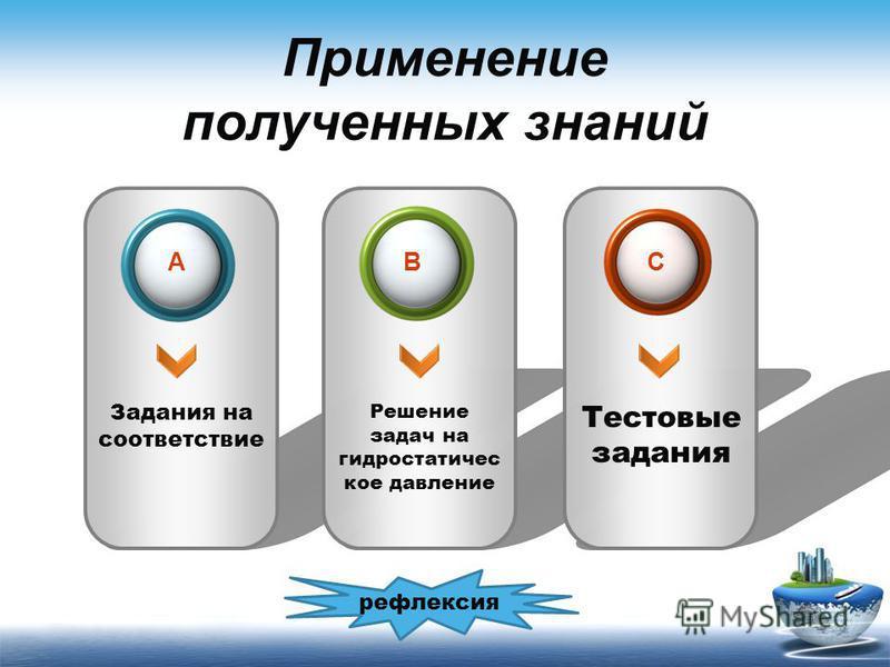 Применение полученных знаний Задания на соответствие Решение задач на гидростатическое давление Тестовые задания ACB рефлексия