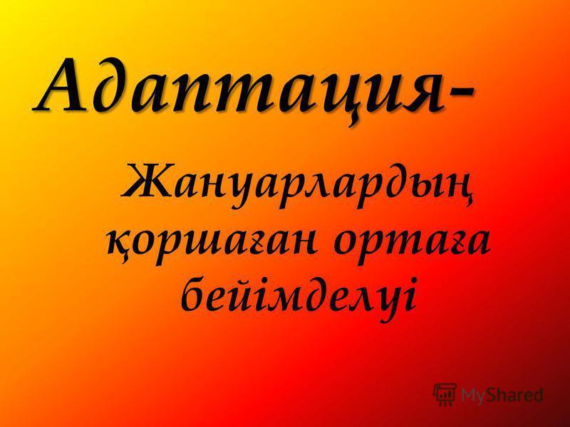 Адаптация- Жануарлардың қоршаған ортаға бейімделуі