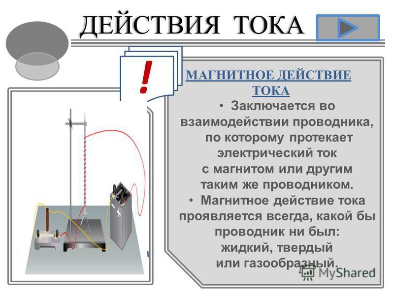 ДЕЙСТВИЯ ТОКАДЕЙСТВИЯ ТОКА МАГНИТНОЕ ДЕЙСТВИЕ ТОКА Заключается во взаимодействии проводника, по которому протекает электрический ток с магнитом или другим таким же проводником. Магнитное действие тока проявляется всегда, какой бы проводник ни был: жи