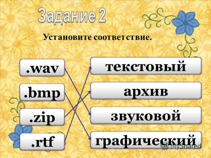 Установите соответствие..wav.bmp.zip.rtf текстовый архив звуковой графический