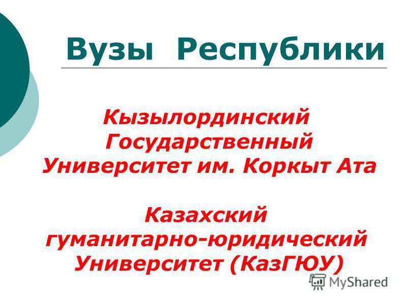 Кызылординский Государственный Университет им. Коркыт Ата Казахский гуманитарно-юридический Университет (КазГЮУ) Вузы Республики