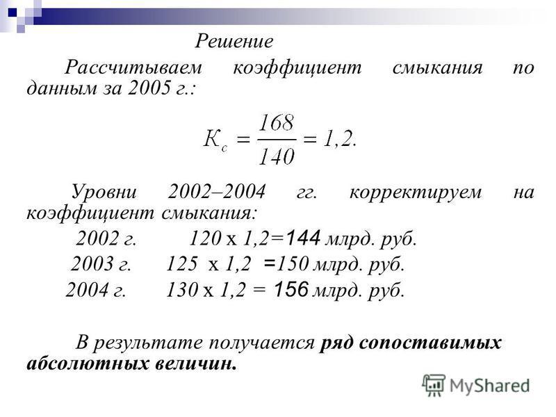 Решение Рассчитываем коэффициент смыкания по данным за 2005 г.: Уровни 2002–2004 гг. корректируем на коэффициент смыкания: 2002 г. 120 х 1,2=144 млрд. руб. 2003 г. 125 х 1,2 = 150 млрд. руб. 2004 г. 130 х 1,2 = 156 млрд. руб. В результате получается