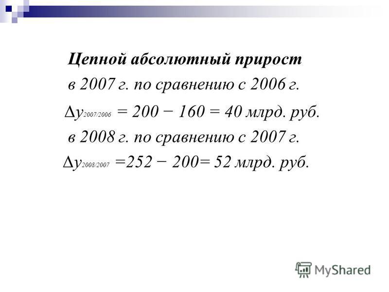 Цепной абсолютный прирост в 2007 г. по справнению с 2006 г. у 2007/2006 = 200 160 = 40 млрд. руб. в 2008 г. по справнению с 2007 г. у 2008/2007 =252 200= 52 млрд. руб.