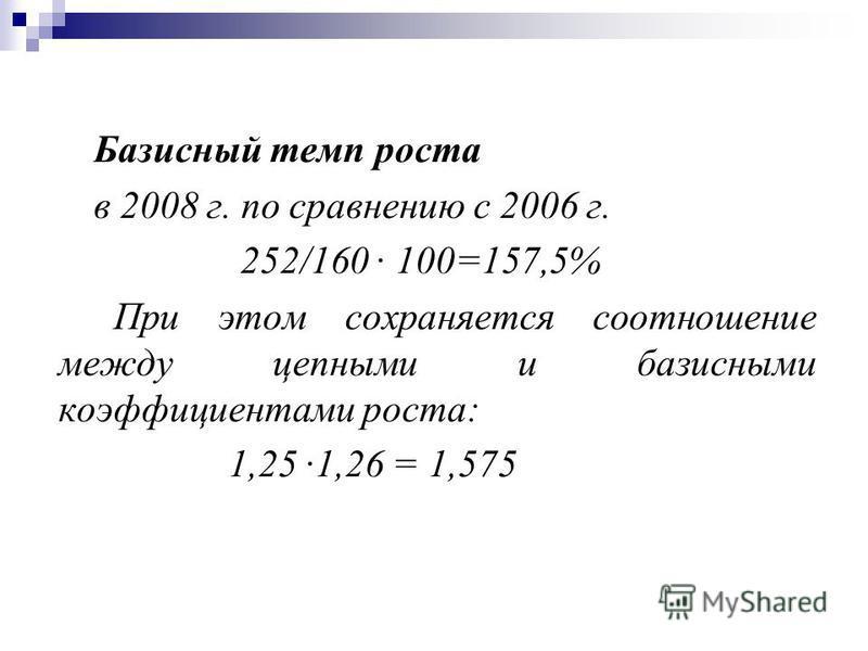 Базисный темп роста в 2008 г. по справнению с 2006 г. 252/160 · 100=157,5% При этом сохраняется соотношение между цепными и базисными коэффициентами роста: 1,25 ·1,26 = 1,575