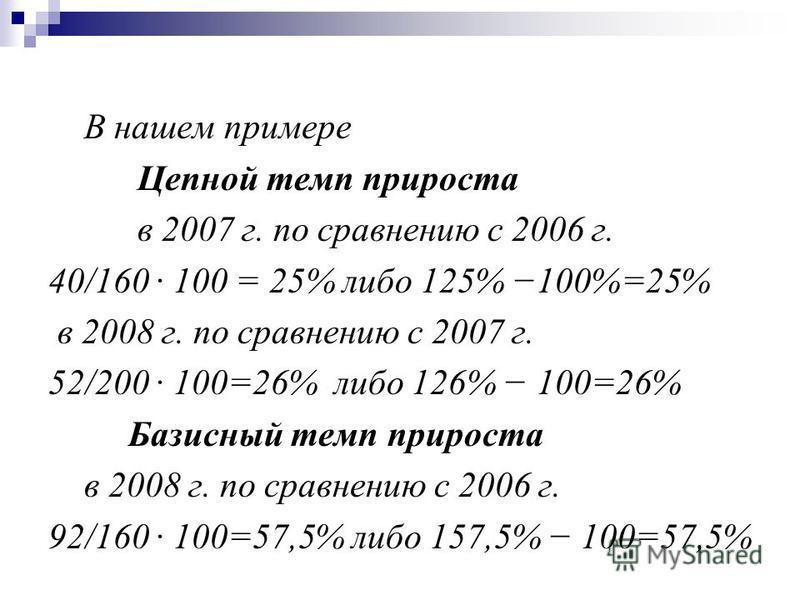 В нашем примере Цепной темп прироста в 2007 г. по справнению с 2006 г. 40/160 · 100 = 25% либо 125% 100%=25% в 2008 г. по справнению с 2007 г. 52/200 · 100=26% либо 126% 100=26% Базисный темп прироста в 2008 г. по справнению с 2006 г. 92/160 100=57,5