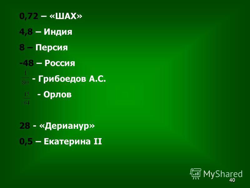 40 0,72 – «ШАХ» 4,8 – Индия 8 – Персия -48 – Россия - Грибоедов А.С. - Орлов 28 - «Дерианур» 0,5 – Екатерина II
