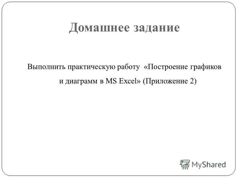 Домашнее задание Выполнить практическую работу «Построение графиков и диаграмм в MS Excel» (Приложение 2)