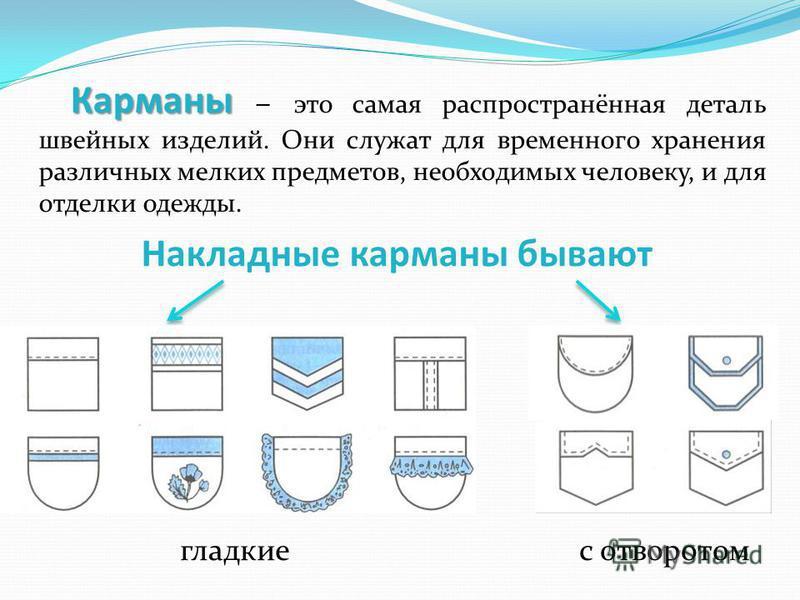Карманы Карманы – это самая распространённая деталь швейных изделий. Они служат для временного хранения различных мелких предметов, необходимых человеку, и для отделки одежды. Накладные карманы бывают гладкие с отворотом