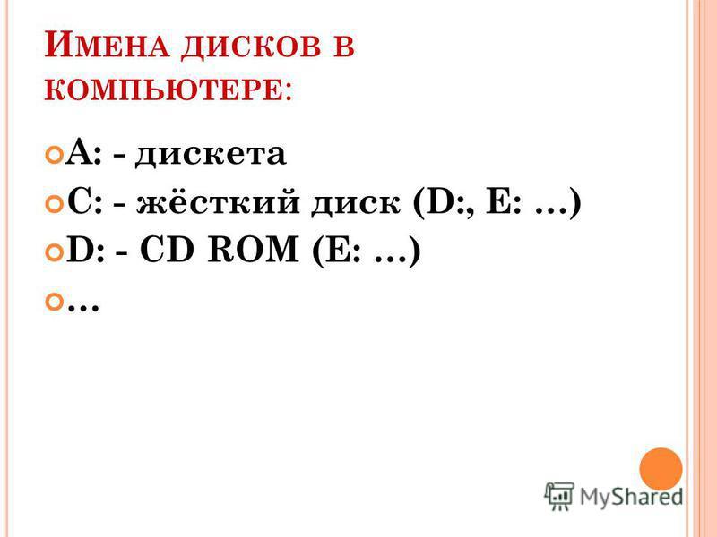 И МЕНА ДИСКОВ В КОМПЬЮТЕРЕ : А: - дискета С: - жёсткий диск (D:, E: …) D: - CD ROM (E: …) …