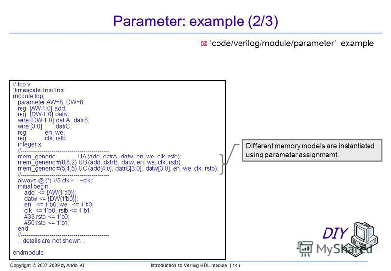 Copyright © 2007-2009 by Ando KiIntroduction to Verilog-HDL module ( 14 ) Parameter: example (2/3) // top.v `timescale 1ns/1ns module top; parameter AW=8, DW=8; reg [AW-1:0] add; reg [DW-1:0] datw; wire [DW-1:0] datrA, datrB; wire [3:0] datrC; reg en