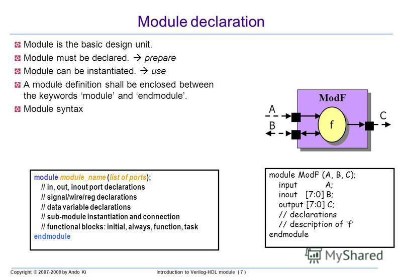 Copyright © 2007-2009 by Ando KiIntroduction to Verilog-HDL module ( 7 ) Module declaration Module is the basic design unit. Module must be declared. prepare Module can be instantiated. use A module definition shall be enclosed between the keywords m