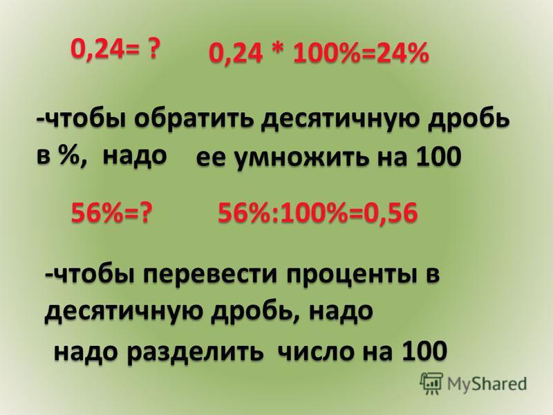 0,24 * 100%=24% 0,24= ? -чтобы обратить десятичную дробь в %, надо ее умножить на 100 56%:100%=0,5656%=? -чтобы перевести проценты в десятичную дробь, надо надо разделить число на 100