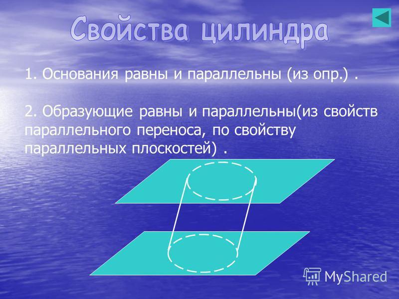 1. Основания равны и параллельны (из опр.). 2. Образующие равны и параллельны(из свойств параллельного переноса, по свойству параллельных плоскостей).